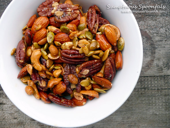 Italian Rosemary Garlic Scented Nuts ~ Sumptuous Spoonfuls #spiced #nuts #holiday #gift #recipe