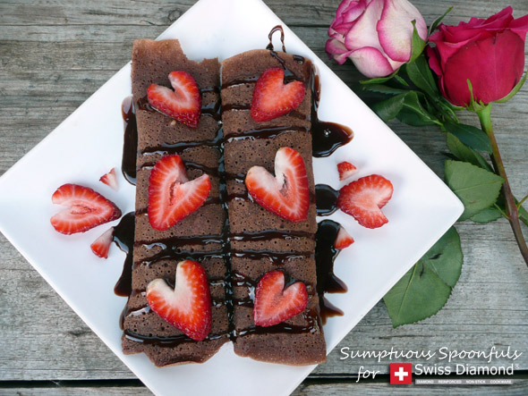 ... Strawberry Truffle Crepes from Sumptuous Spoonfuls #chocolate #crepes