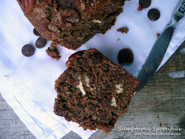 Double Chocolate Pecan Banana Bread ~ from Sumptuous Spoonfuls #chocolate #banana bread #recipe