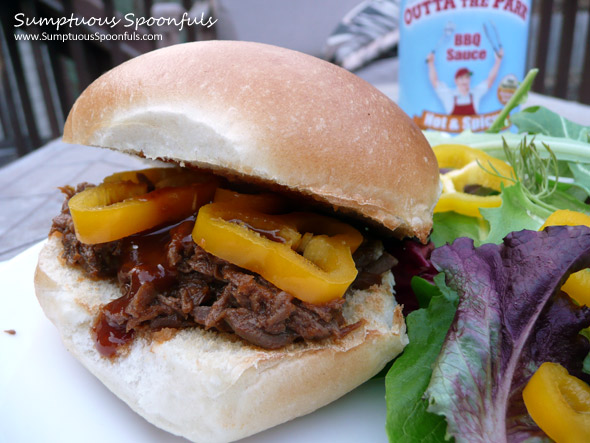 Outta the Park Crockpot Shredded Beef BBQ Sandwiches