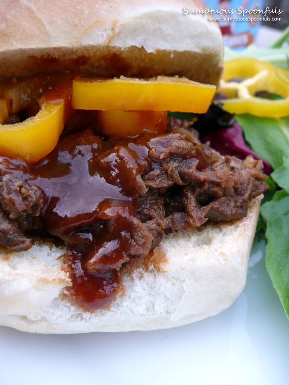 Outa the Park Crockpot Shredded BBQ Beef Sandwiches ~ from Sumptuous Spoonfuls #BBQ #Beef #Recipe