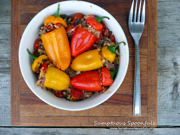 Cheesy Beef n Rice Stuffed Mini-Peppers