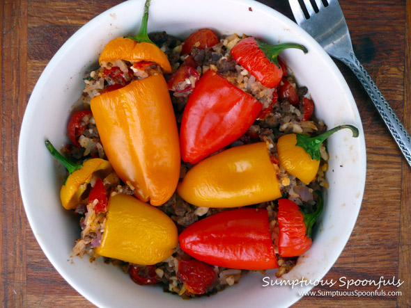 Feta Beef n Rice Stuffed Mini Peppers ~ Sumptuous Spoonfuls #stuffed #pepper #recipe