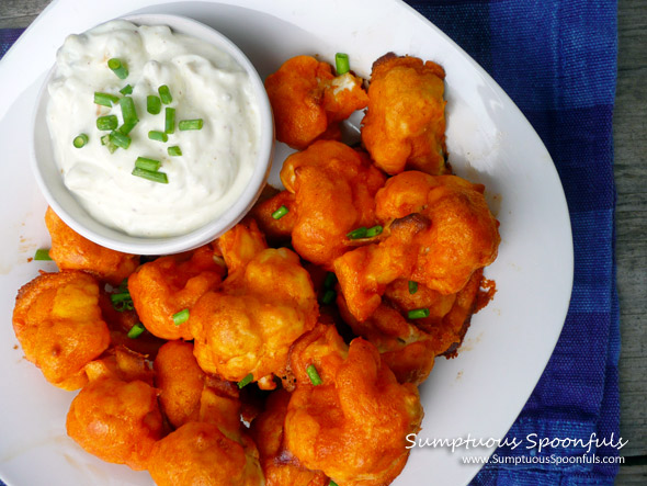 "Buffalo Cauliflower ""Wings"" with Blue Cheese Yogurt Dip ~ Sumptuous Spoonfuls #buffalo #cauliflower #recipe"