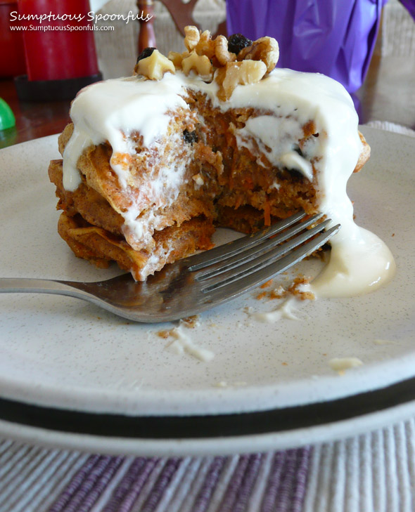 Carrot Cake Pancakes with Cream Cheese Drizzle ~ Sumptuous Spoonfuls #pancake #recipe