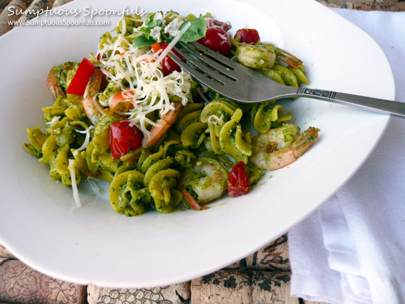 Cilantro Almond Pesto Shrimp Pasta