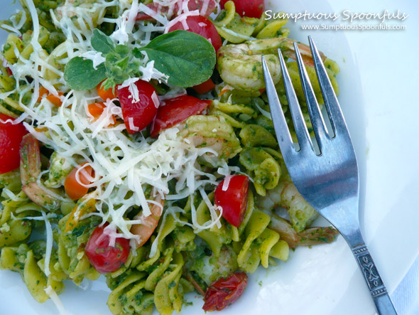 Cilantro Almond Pesto Shrimp Pasta with Tomato & Asiago ~ Sumptuous Spoonfuls #quick #pasta #recipe