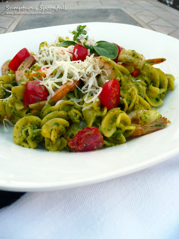 Cilantro Almond Pesto Shrimp Pasta with Tomato & Asiago ~ Sumptuous ...