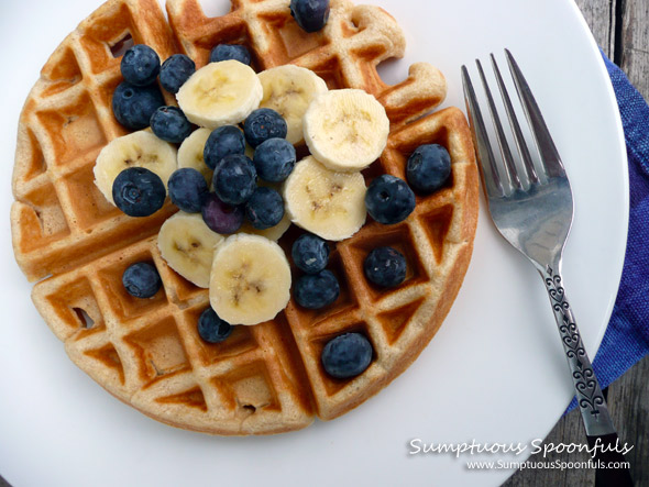 Sunday Vanilla Waffles from Scratch ~ Sumptuous Spoonfuls #waffle #recipe