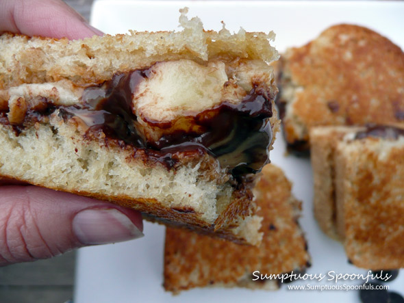 Toasted Peanut Butter Banana Dark Chocolate Panini ~ Sumptuous Spoonfuls #sandwich #recipe