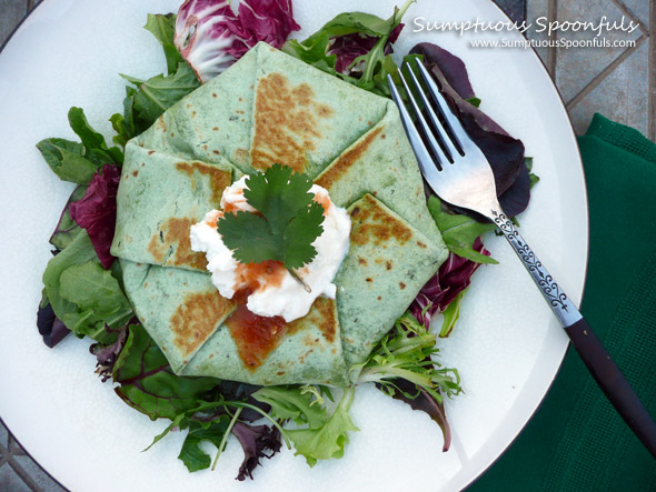 Triple Green Crunchwrap Supreme ~ Sumptuous Spoonfuls #crunchwrap #recipe