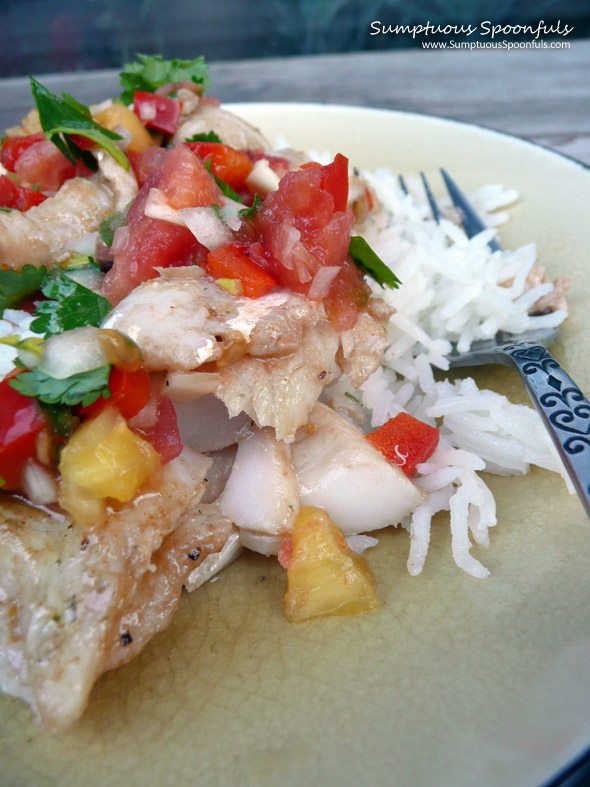 Apple Grilled Walleye with Smoky Pineapple Salsa ~ Sumptuous Spoonfuls #fish #recipe