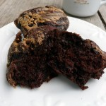 Double Dark Chocolate Peanut Butter Swirl Muffins ~ Sumptuous Spoonfuls #chocolate #muffin #recipe