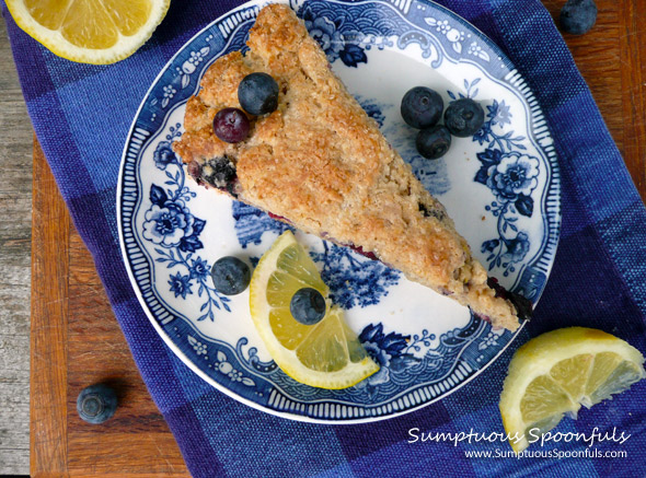 Lemon Blueberry Ricotta Cream Scones - Sumptuous Spoonfuls