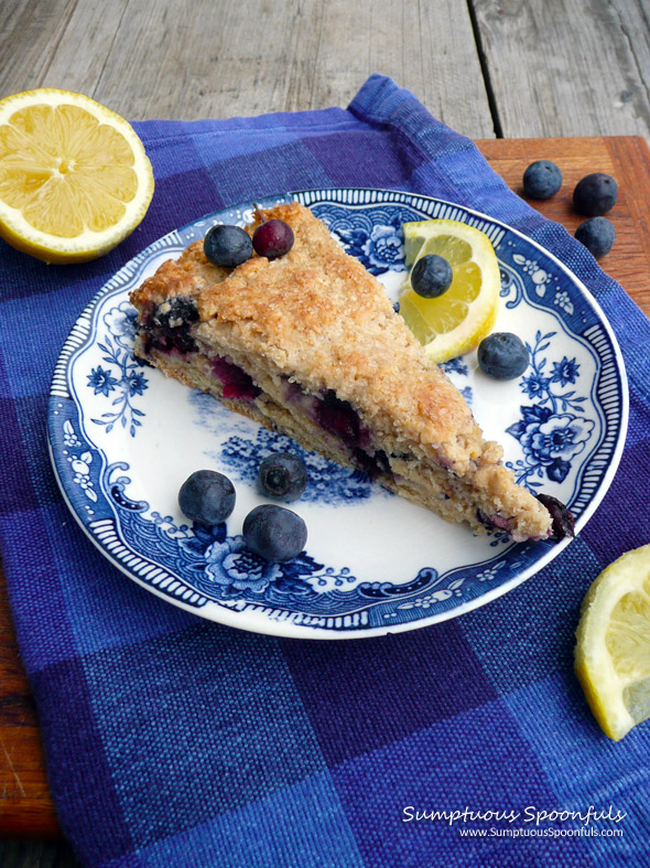 ... Blueberry Ricotta Cream Scones ~ Sumptuous Spoonfuls #scone #recipe