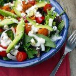 Kickin' Buffalo Chicken Salad with Blue Cheese Yogurt Dressing ~ Sumptuous Spoonfuls #salad #recipe