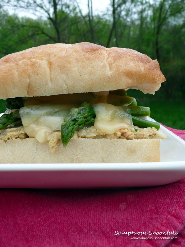 Salmon & Asparagus Salad Sandwich ~ Sumptuous Spoonfuls #sandwich #recipe