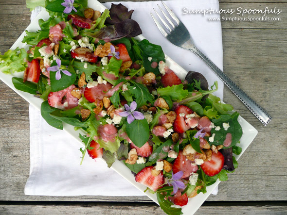 Strawberry Almond Salad with Wild Violets & Blue Cheese