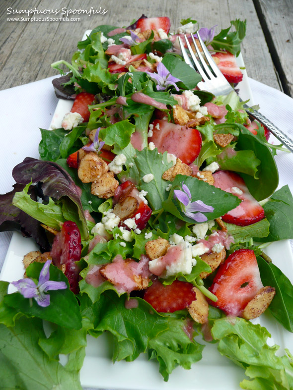 Strawberry Almond Wild Violet Salad ~ Sumptuous Spoonfuls #salad #recipe