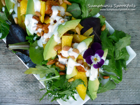 Chicken Mango Avocado Salad with Rosemary Maple Yogurt Dressing ~ Sumptuous Spoonfuls #salad #recipe