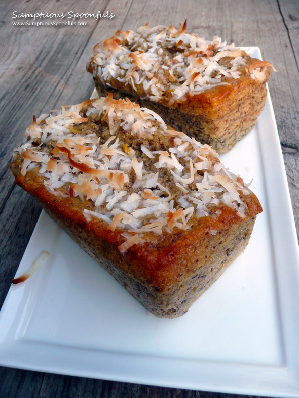 Coconut Mango Banana Bread ~ Sumptuous Spoonfuls #banana bread #recipe