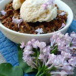 Lilac Rhubarb Crisp for Two ~ Sumptuous Spoonfuls #rhubarb #recipe