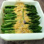 Roasted Asparagus with Asiago Chive Breadcrumbs