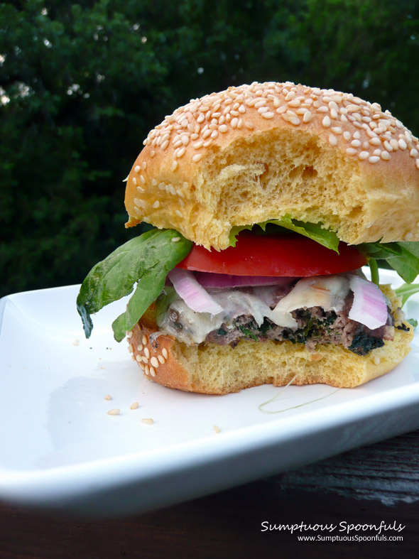 Blue Cheese & Spinach Venison Burgers ~ Sumptuous Spoonfuls #burger #recipe