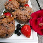 Double Berry Rose Muffins ~ Sumptuous Spoonfuls #healthy #muffin #recipe