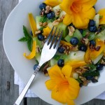 Minted Honeydew Blueberry Walnut Salad w Edible Flowers ~ Sumptuous Spoonfuls #fruit #salad #recipe