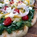 Pesto Shrimp & Kale Grilled Pizza ~ Sumptuous Spoonfuls #pizza #recipe