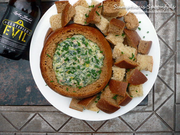 Bacon Spinach Beer Cheese Dip in a Beer Bread Bowl