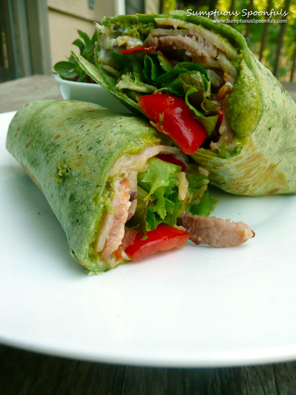 Turkey Avocado Bacon Lettuce & Tomato Wrap ~ Sumptuous Spoonfuls #BLT #recipe