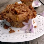 Banana Peach Streusel Muffins ~ Sumptuous Spoonfuls #muffin #recipe