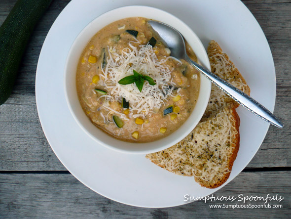 Smoky Asiago Zucchini Corn Soup