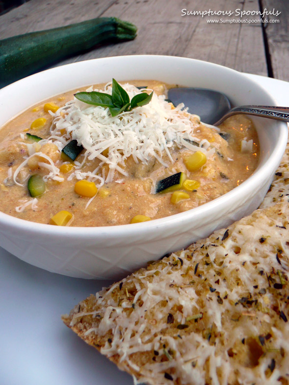 Smoky Asiago Zucchini Corn Soup ~ Sumptuous Spoonfuls #soup #recipe