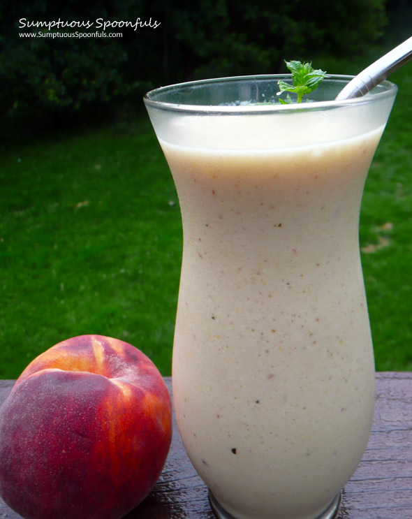 Vanilla Mint Peach Honeydew Smoothie ~ Sumptuous Spoonfuls #smoothie #recipe