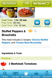 Cooking Planit App - Meal View