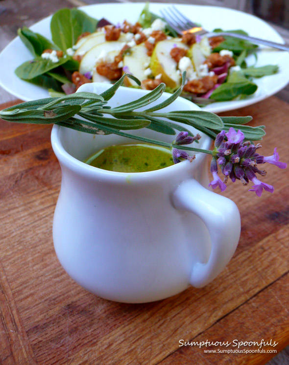 Honey White Wine Lavender Vinaigrette ~ Sumptuous Spoonfuls #salad dressing #recipe