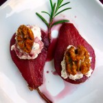Rosemary Red Wine Poached Pears with Honey Mascarpone & Candied Walnuts ~ Sumptuous Spoonfuls #dessert #recipe