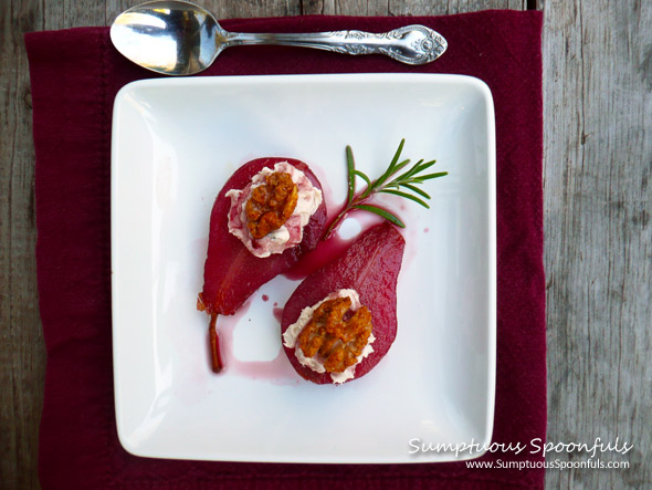 Rosemary Red Wine Poached Pears
