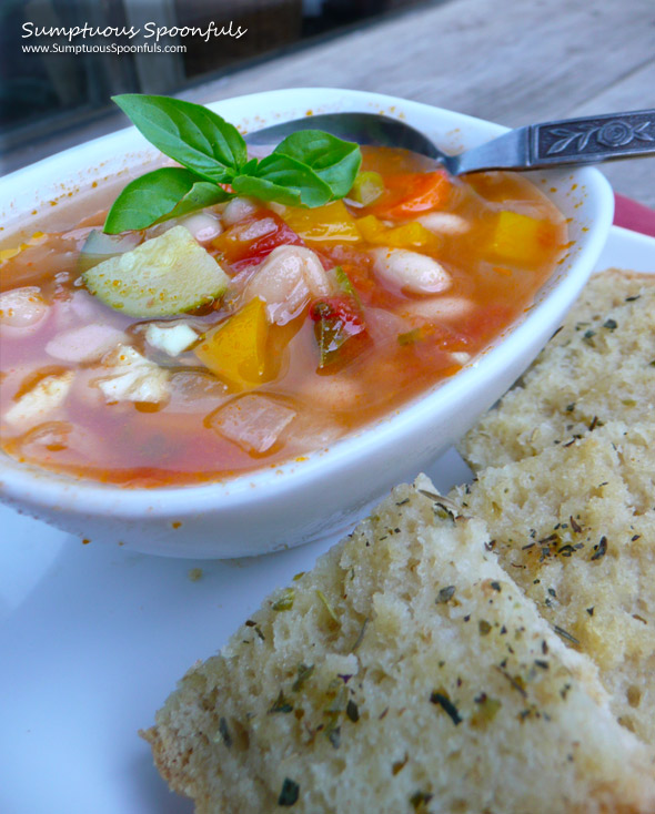 White Bean Garden Soup ~ Sumptuous Spoonfuls #soup #recipe