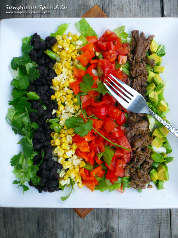 Mexican Carnitas Cobb Salad ~ Sumptuous Spoonfuls #salad #recipe