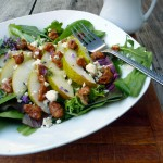 Pear, Blue Cheese & Candied Walnut Salad with Lavender Vinaigrette ~ Sumptuous Spoonfuls #salad #recipe