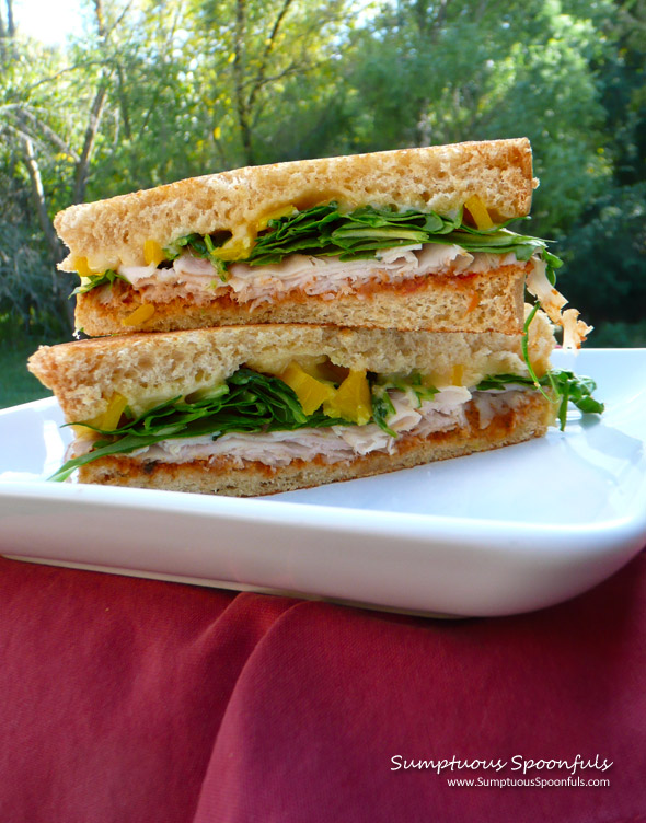 Smoked Turkey Spinach Sundried Tomato Sandwich ~ Sumptuous Spoonfuls #sandwich #recipe