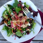 Cranberry Turkey Salad with Goat Cheese & Candied Walnuts ~ Sumptuous Spoonfuls #salad #recipe