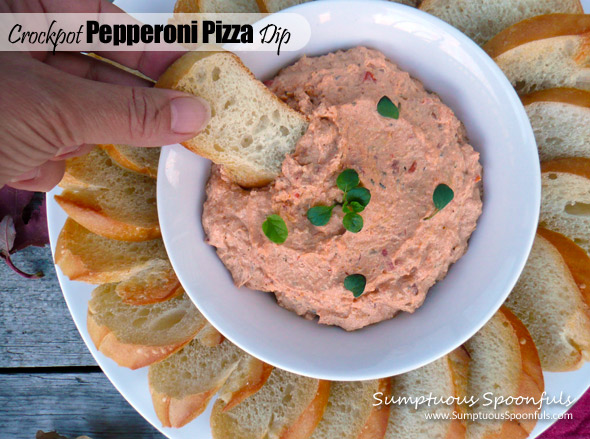 Crockpot Pepperoni Pizza Dip ~ Sumptuous Spoonfuls #appetizer #recipe