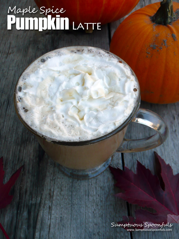 Maple Spice Pumpkin Latte ~ Sumptuous Spoonfuls #coffee #recipe