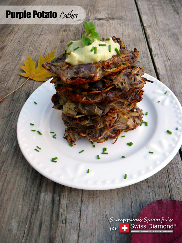 Purple Potato Latkes with Avocado Artichoke Dipping Sauce ~ Sumptuous Spoonfuls #potato #pancake #recipe