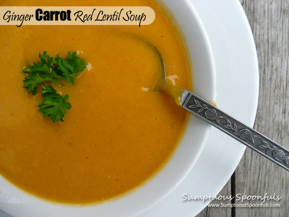 Ginger Carrot Red Lentil Soup ~ Sumptuous Spoonfuls #soup #recipe